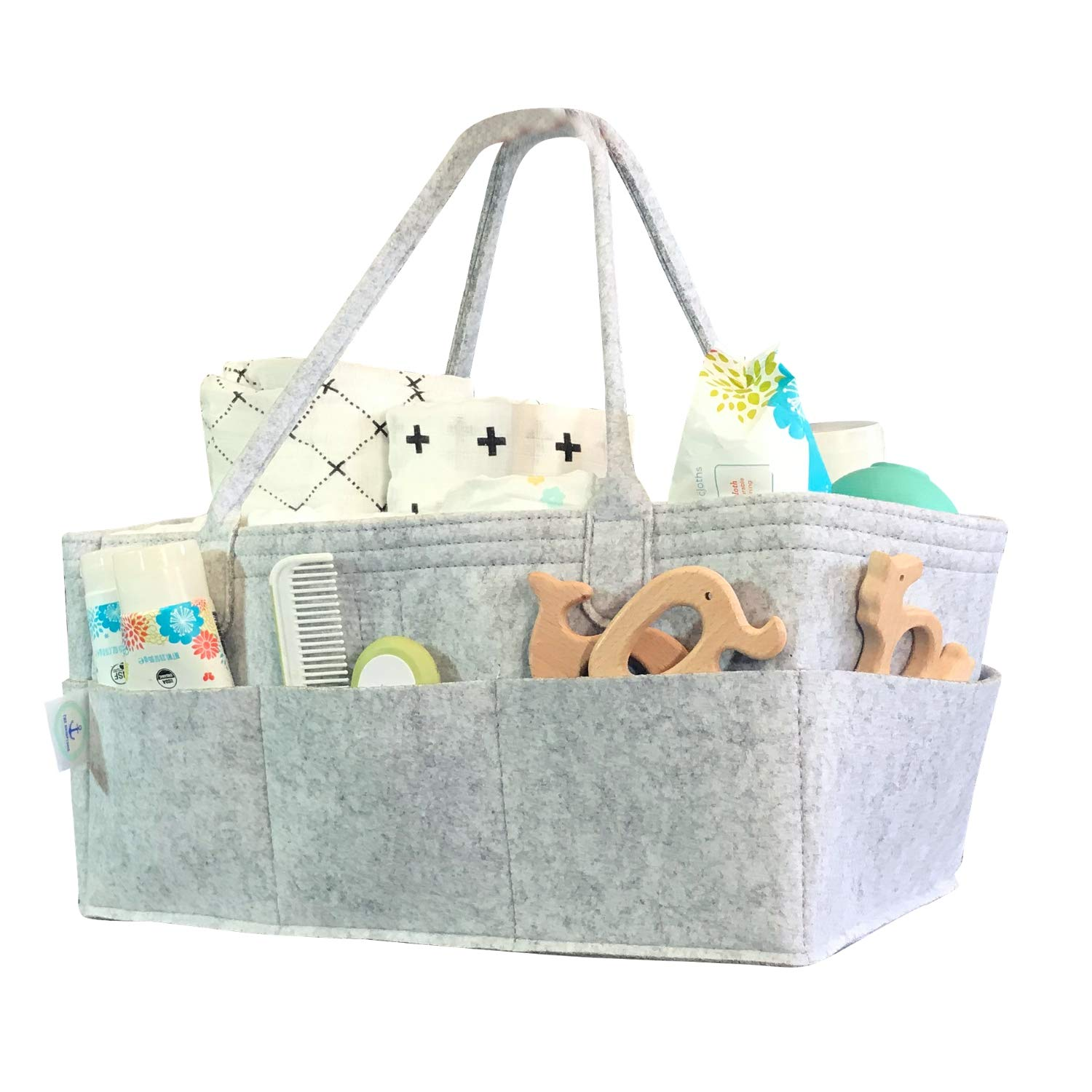 Diaper Caddy Organizer by The Hamptons Baby - Nursery Storage Bin for Diapers, Wipes, Toys and Supplies - Portable Car Tote, Mobile Storage & Changing Station