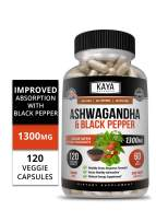 Kaya Naturals Organic Ashwagandha 1300mg, 120 Count Capsules for Stress Relief, Anti-Anxiety & Adrenal, Mood & Thyroid Support, Black Pepper and 100% Pure Ashwagandha (120 Capsules)