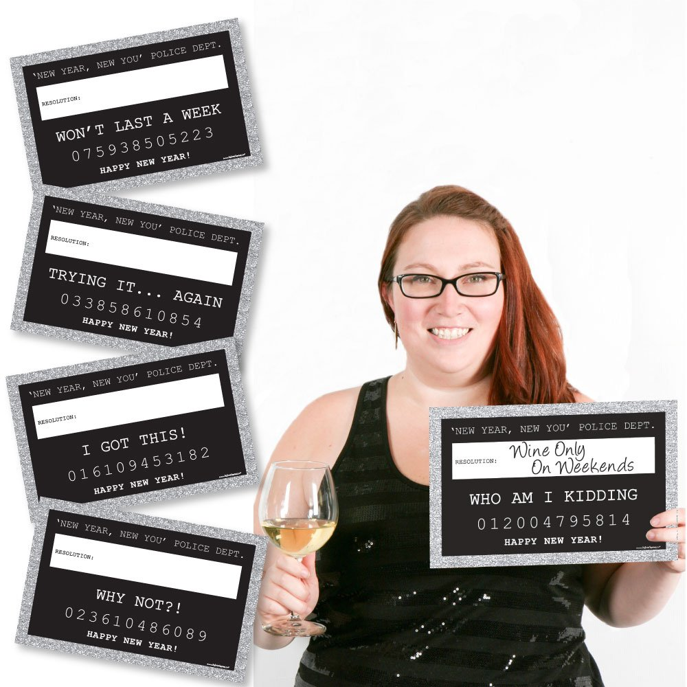 Silver New Year's Eve Party Mug Shots Year's Resolutions Photo Booth Props Party Mugshot Signs - 20 Count