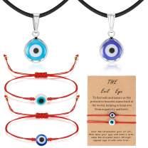 Yaomiao Evil Eye Necklace with Evil Eye Bracelet Set, 2 Pieces Amulet Lucky Bracelets with Card, 2 Pieces Evil Eye Pendant Necklaces Turkish Blue Necklace for Women Men Girls Boys