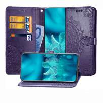 MEUPZZK iPhone Xs Case, iPhone X Wallet Case, 3D Mandala Flowers Embossed Premium PU Leather Kickstand Flip Cover Card Holders & Wrist Strap Wallet Case for iPhone X/iPhone Xs/iPhone 10 Purple