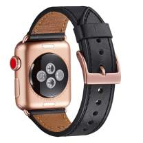 WFEAGL Compatible iWatch Band 42mm, Top Grain Leather Band with Gold Adapter (The Same as Series 4/3 with Gold Aluminum Case in Color) for iWatch Series 4/3/2/1 (Black Band+Rosegold Adapter)
