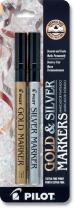 PILOT Metallic Permanent Paint Markers, 1 Each Gold & Silver, Extra Fine Point, Set of 2 (41400)
