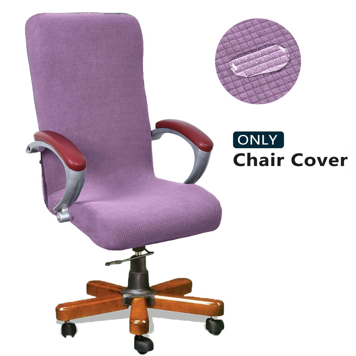 WOMACO Waterproof Office Chair Cover, Jacquard Computer Office Chair Covers Water-Repellent Universal Boss Chair Covers Modern Simplism Style High Back Chair Slipcover (Light Purple, Large)