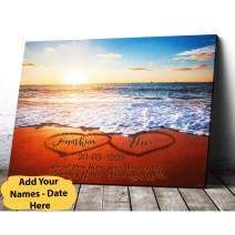 VTH Global Personalized Custom Name Date Love on Beach Heart in Heart Couple Canvas Prints Wall Art Hanging Poster Home Decor Gifts for Engagement Wedding Anniversary
