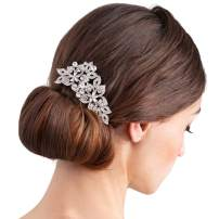 SWEETV Silver Bridal Hair Comb Crystal Rhinestone Wedding Hair Clip- Wedding Hair Accessories Head Pieces for Bride Bridesmaid