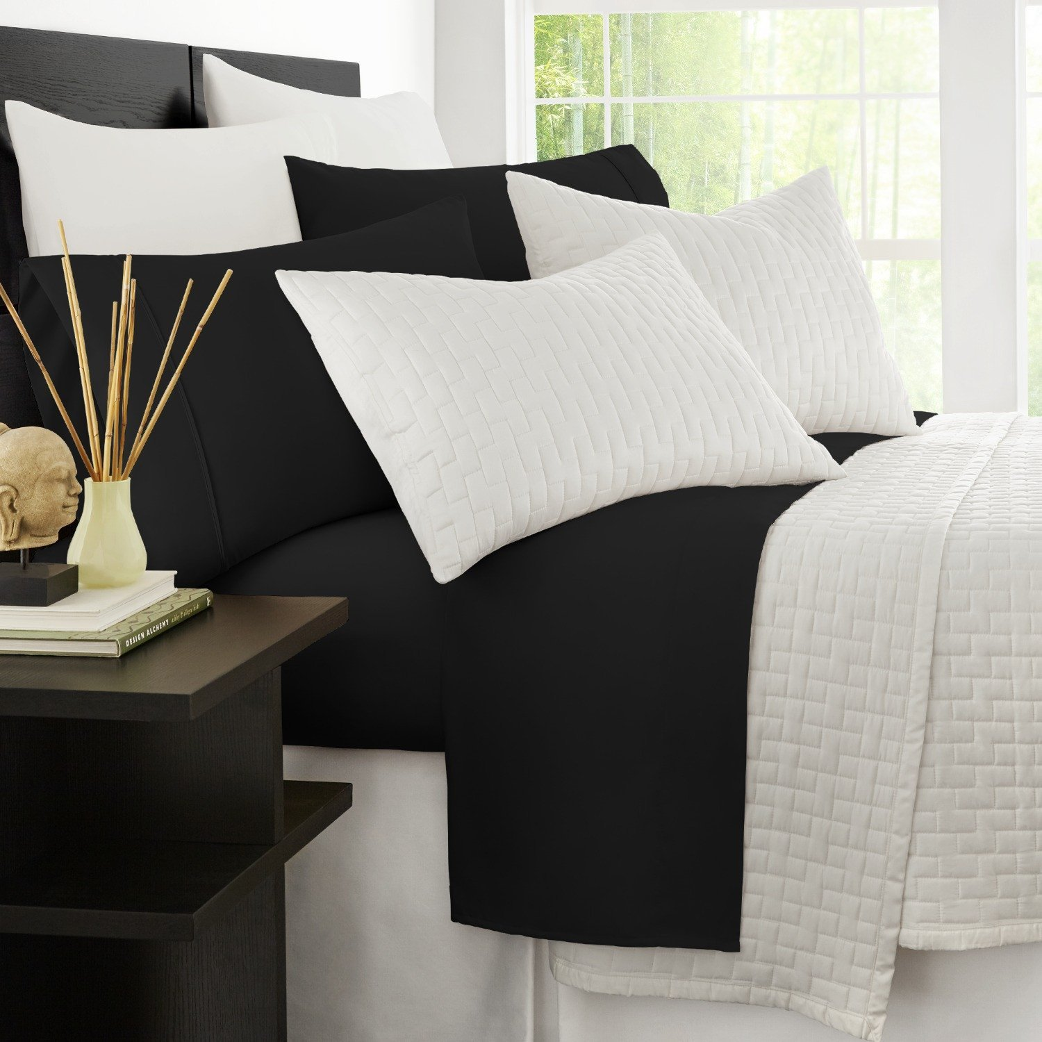 Zen Bamboo Luxury 1500 Series Bed Sheets - Eco-Friendly, Hypoallergenic and Wrinkle Resistant Rayon Derived from Bamboo - 4-Piece - California King - Black