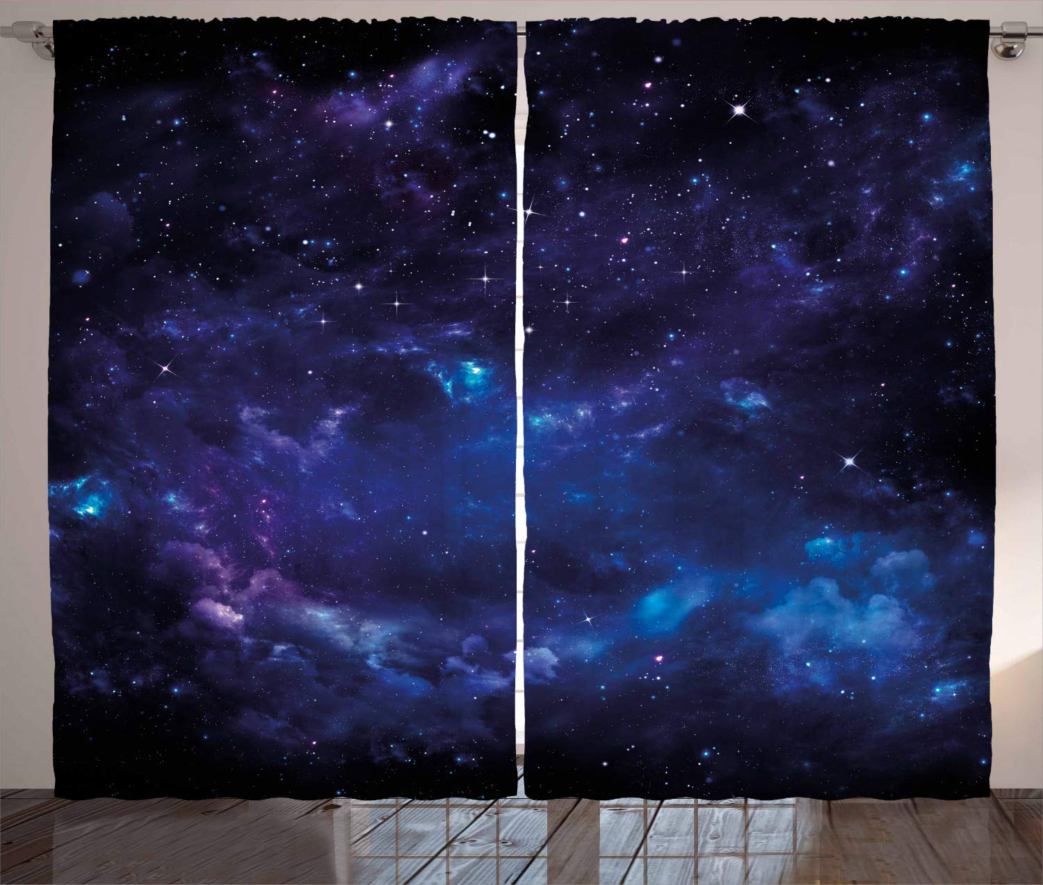"""Ambesonne Sky Curtains, Space Night Time Universe Stars and Nebulas Distant Parts of Galaxy, Living Room Bedroom Window Drapes 2 Panel Set, 108"""" X 84"""", Purple Charcoal"""