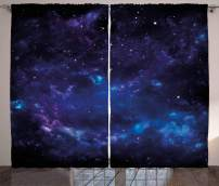 """Ambesonne Sky Curtains, Space Night Time Universe Stars and Nebulas Distant Parts of Galaxy, Living Room Bedroom Window Drapes 2 Panel Set, 108"""" X 90"""", Purple Charcoal"""