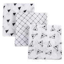 MBJERRY Muslin Swaddle Blankets for Newborn - Large 47x47 Inches Soft Receiving Blanket Pack of 3 Ideal for Baby Boys and Girls Shower Gifts(Style #2)