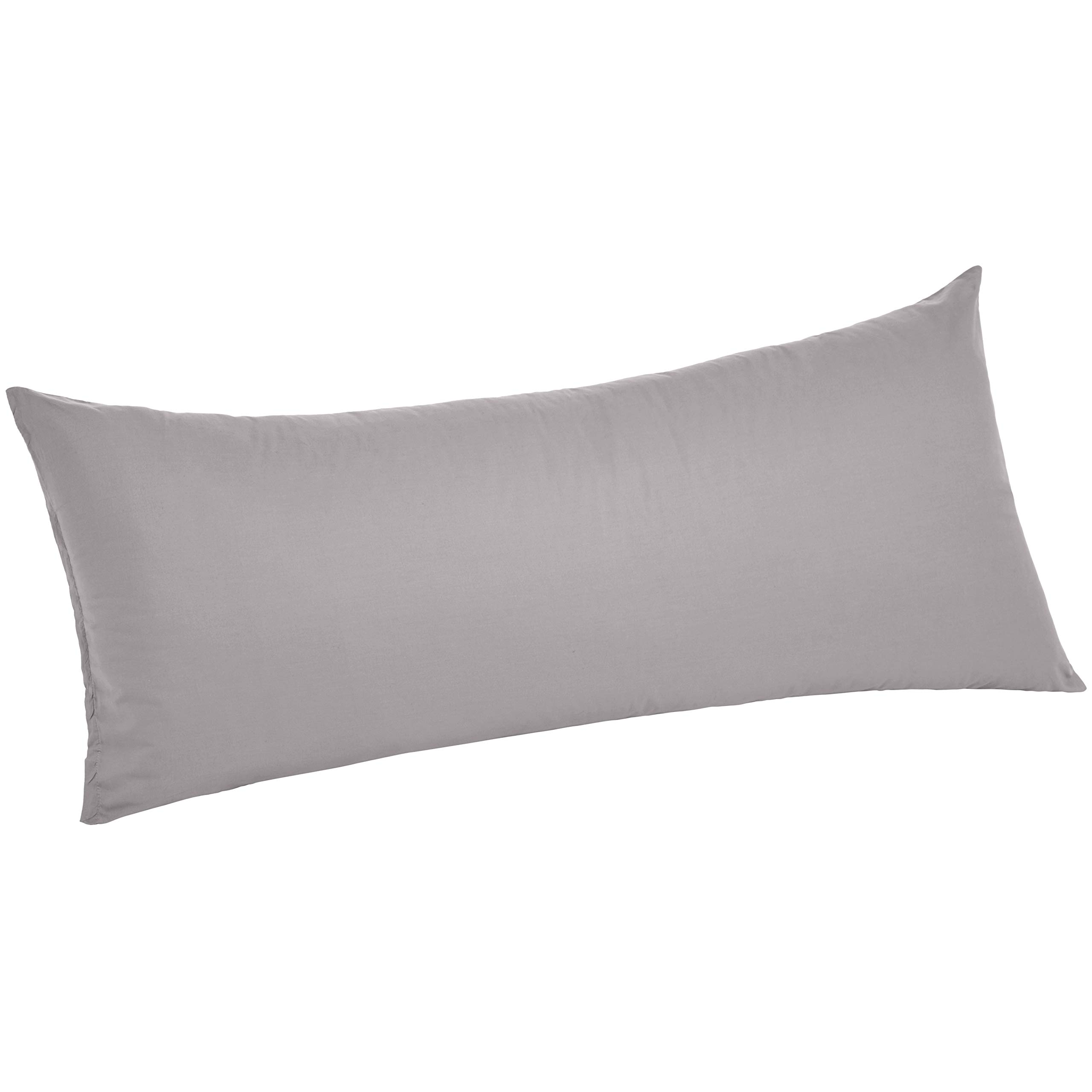 """AmazonBasics Ultra-Soft Body Pillow Cover Pillowcase, Breathable, Easy to Wash, 55"""" x 21"""", Graphite Grey"""