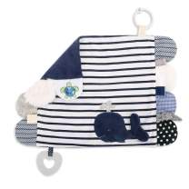 DEMDACO Whale Nautical Blue Stripe 17 x 12 Soft Cotton Polyester Fabric Engaging Activity Baby Blanket