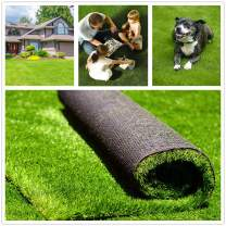 """Fas Home Artificial Grass Turf 7FTX7FT(49 Square FT), 1.38"""" Pile Height Realistic Synthetic Grass, Drainage Holes Indoor Outdoor Pet Faux Grass Astro Rug Carpet for Garden Backyard Patio Balcony"""