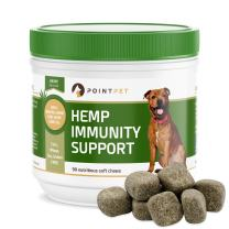 POINTPET Natural Immune Support for Dogs with Organic Hemp Oil, Omega 3 & 6 - Relieve Allergies, Dry and Itchy Skin, Improve Heart and Brain Health, Dog Immunity Booster Supplement, 90 Soft Chews