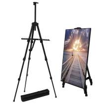 Artist Easel Stand, 4 Section Retractable Support Leg,Extra Thick Aluminum Metal Tripod Display Easel 17 to 56 Inches Adjustable Height with Portable Bag for Floor/Table-Top Drawing and Displaying