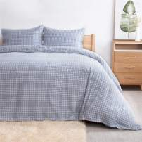 Bedsure 100% Washed Cotton Duvet Cover Set Full/Queen Size (90x90 inches) - Plaid Comforter Cover Bedding Sets Blue/White - 3 Pieces (1 Duvet Cover + 2 Pillow Shams) with Button Closure, Corner Ties