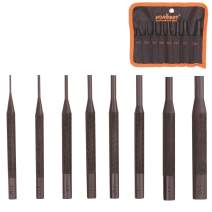HORUSDY 8 Pieces Roll Pin Punch Set, Gunsmithing Kit Removing Repair Tool with Holder for Automotive, Watch Repair,Jewelry and Craft