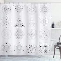 "Lunarable Geometry Shower Curtain, Alchemy Philosophy Theme with Geometric Illustration, Cloth Fabric Bathroom Decor Set with Hooks, 84"" Long Extra, White Black"