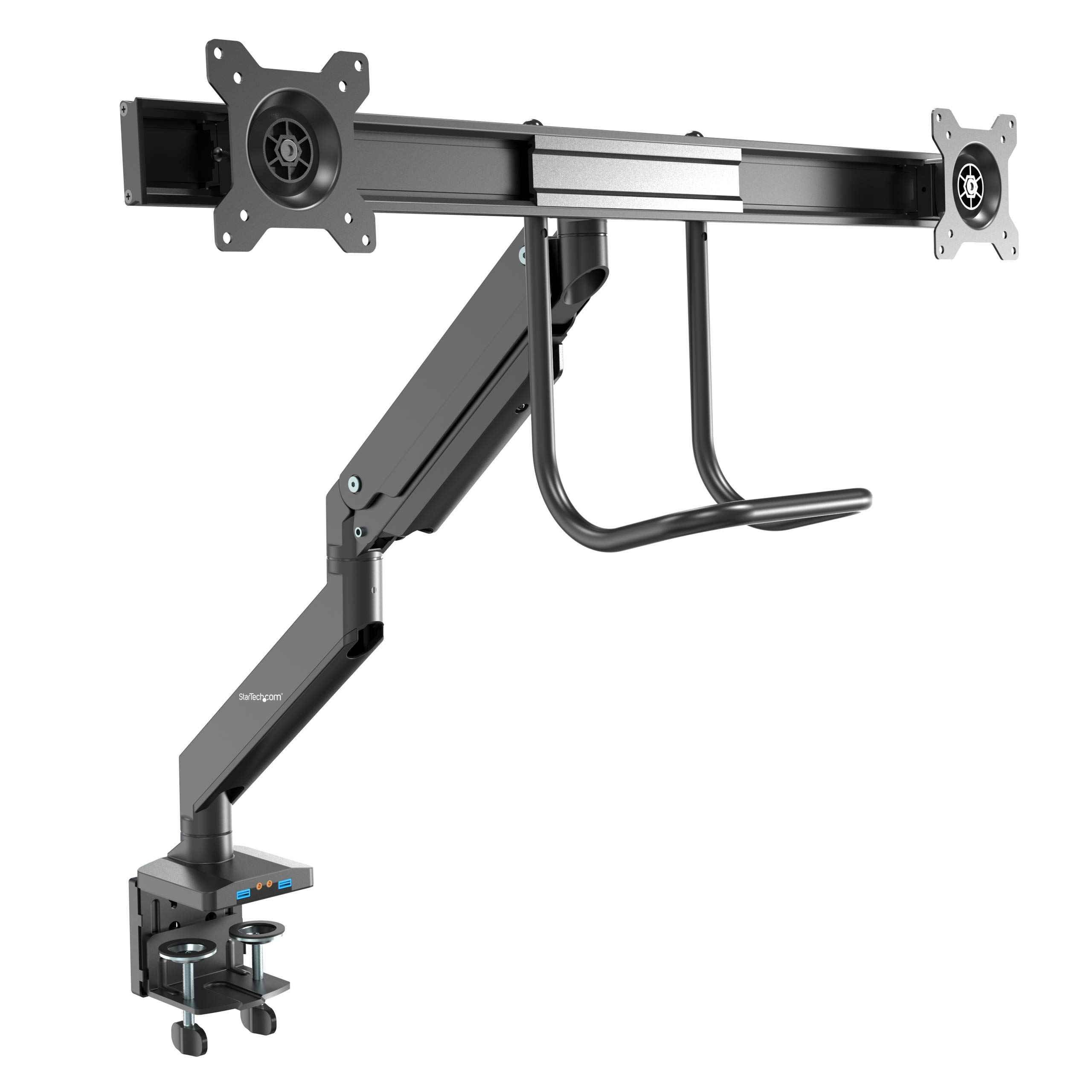 "StarTech.com Desk Mount Dual Monitor Arm with USB & Audio - Slim Full Motion Adjustable Dual Monitor VESA Mount for up to 32"" Displays - Ergonomic Articulating - C-Clamp/Grommet (ARMSLIMDUAL2USB3)"