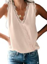 Chase Secret Women's V Neck Lace Strap Trim Cami Tank Sleeveless Tops Casual Loose Blouse Shirts Racerback Ladies Camisole
