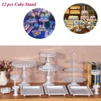 12 Set Antique Metal Crystal Cake Holder Cupcake Stand Cake Dessert Holder with Pendants and Beads,Wedding Birthday Dessert Cupcake Pedestal Display, White
