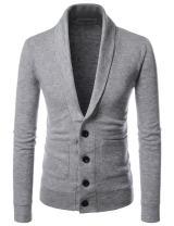NEARKIN Mens Casual Shawl Collar Long Sleeve Slim fit Knit Cardigan Sweaters