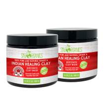 Sky Organics Indian Healing Clay Face Mask 100% Pure & Natural Bentonite Clay Therapeutic Grade -Face Skin Care Deep Skin Pore Cleansing Detoxifying For Acne Vegan Cruelty Free Made in USA 1lb (2pack)