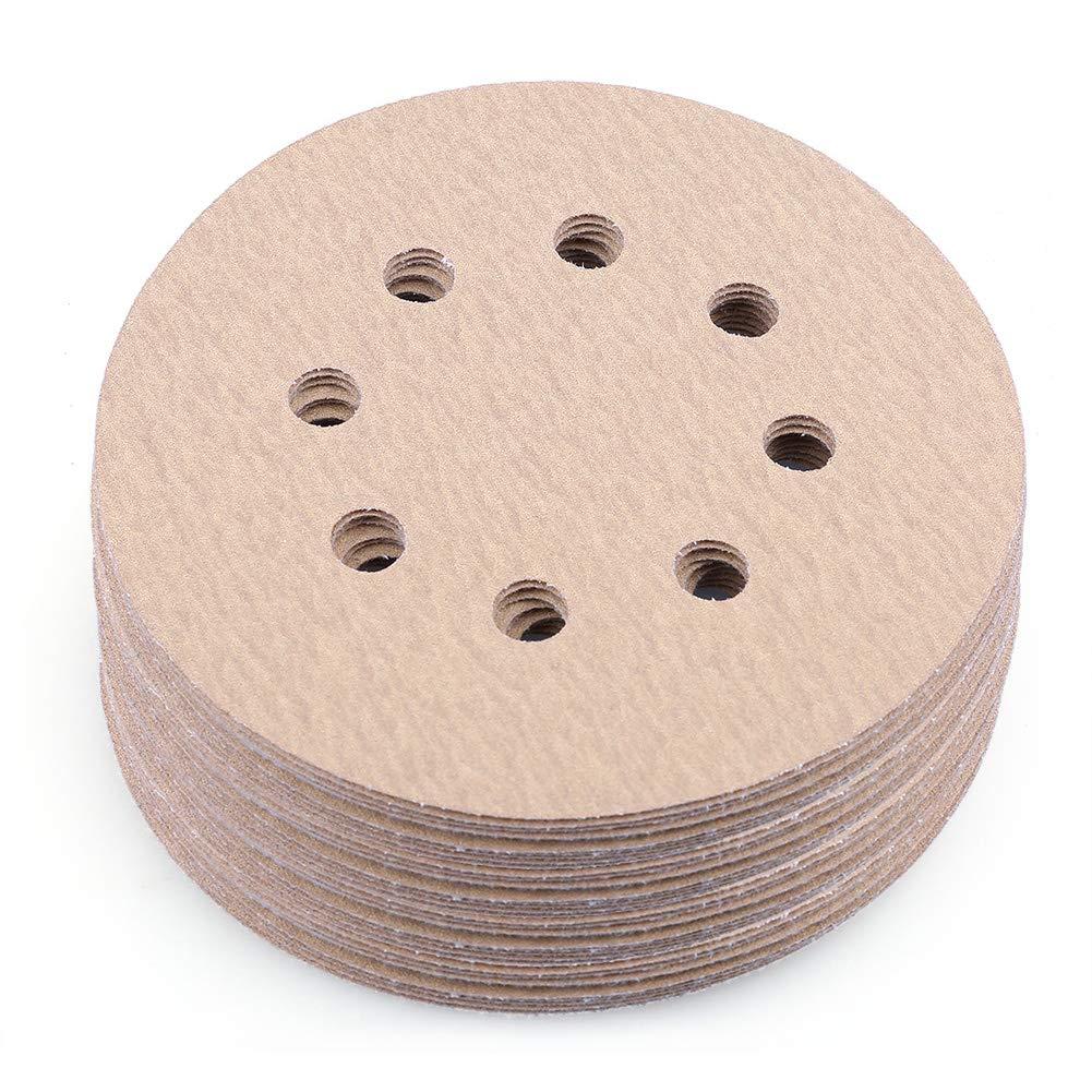 Sanding Disc, 5 Inch 8 Hole 180 Grit Hook and Loop Sandpaper, Random Orbital Sander Round Paper by LotFancy, Pack of 100