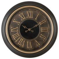 Pacific Bay Einbeck Huge Decorative Light-Weight 23-inch Wall Clock Silent, Non-Ticking, 3-D Aluminum Dial, Easy-to-Read Roman Numerals, Quartz Battery Operated, Glass Face Cover