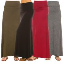 Isaac Liev Women's 4-Pack Trendy Rayon Span Fold Over Maxi Skirt - Made in The USA