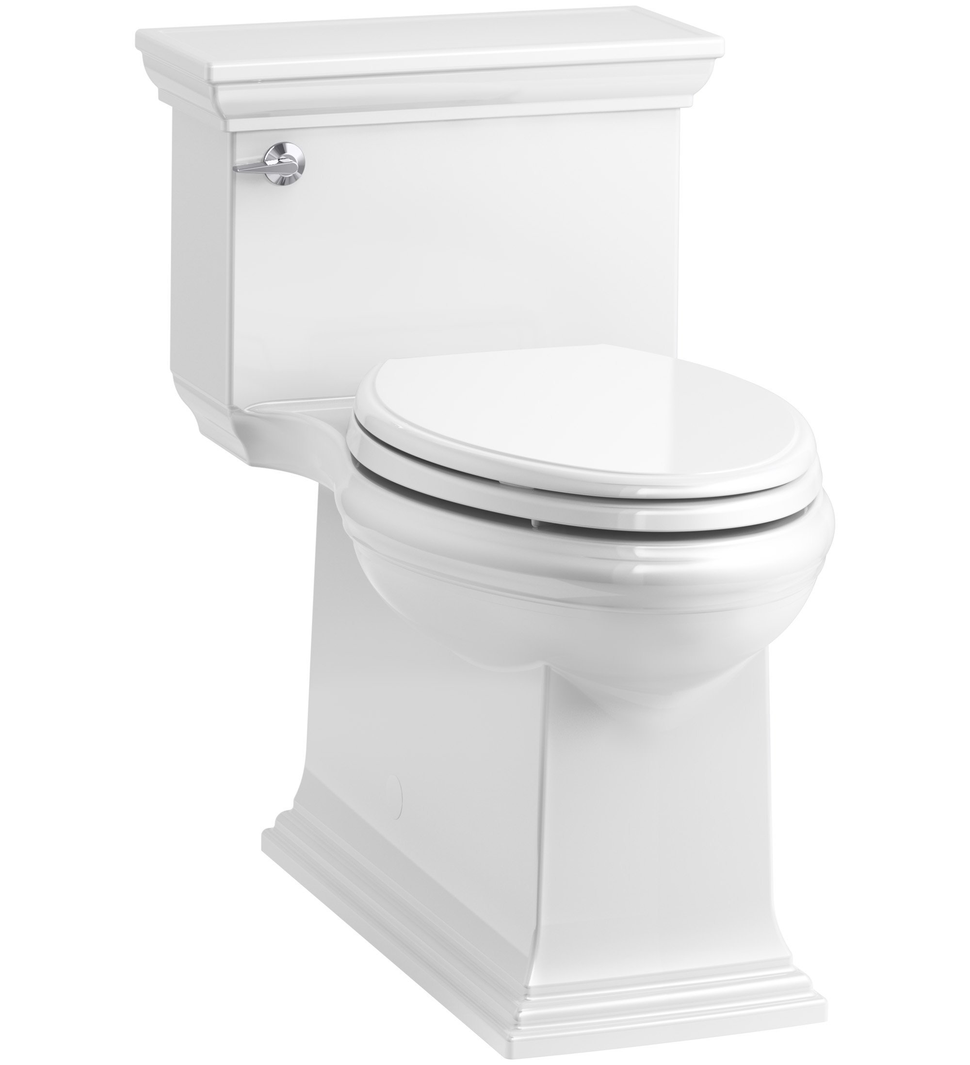KOHLER K-6428-0 Memoirs Stately Comfort Height Skirted One-Piece Compact Elongated 1.28 GPF Toilet with AquaPiston Flush Technology and Left-Hand Trip Lever, White