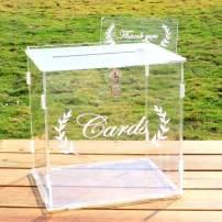 OurWarm Wedding Card Box for Wedding Reception, Clear Card Boxes with Lock, Gift Card Box Money Box Holder for Reception Anniversary Shower Rustic Wedding Decorations Birthday Graduation