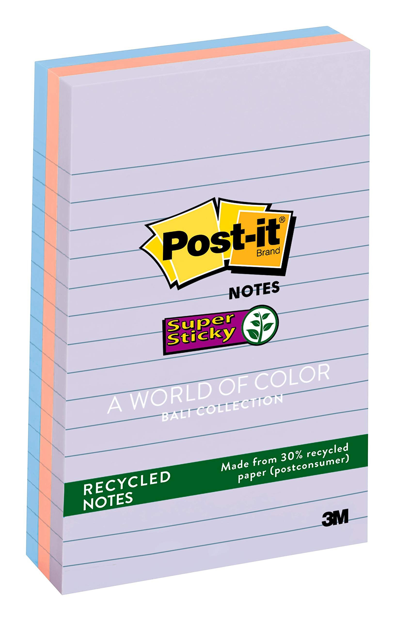 Post-it Recycled Super Sticky Notes, 2x Sticking Power, 4 in x 6 in, Bali Collection, 3 Pads/Pack, 90 Sheets/Pad (660-3SSNRP)