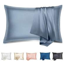 silkcase Silk Pillowcase for Hair and Skin, Soft Breathable Smooth No-Static Pillow Cover, 22 Momme 600 Thread Count with Hidden Zipper, Both Sided 100% Pure Mulberry Silk Pillowcase(1pc, Grey)