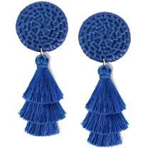 JSLOVE Tassel Earrings- Tiered Thread Bohemian Layered Fringe Statement Earrings Drop Dangle Rattan Earrings Gifts for Women Girls Fashion Multicolor