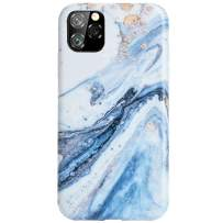 Reejax iPhone 11 Pro Max Case with Glass Screen Protector, Cute Blue White Marble for Girls Women Best Protective Slim Fit Clear Bumper Glossy TPU Soft Silicon Cover Phone Case for iPhone 11 Pro Max