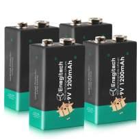 Enegitech 9V Lithium Batteries 1200mAh Smoke Detector Battery 10Year Shelf Life for Fire Alarm Multimeter Walkie Talkie 4Pack (Don' Recharge)