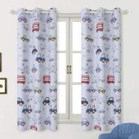 BGment Kids Blackout Curtains - Grommet Thermal Insulated Room Darkening Printed Car Bus Patterns Nursery and Kids Bedroom Curtains, Set of 2 Curtain Panels (42 x 63 Inch, Greyish White)