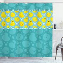 """Ambesonne Rubber Duck Shower Curtain, Yellow Cartoon Duckies Swimming in Water Pattern with Fun Bubbles Aqua Colors, Cloth Fabric Bathroom Decor Set with Hooks, 75"""" Long, Teal Yellow"""