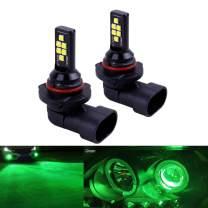 SOCAL-LED LIGHTING 2x HB3 H10 9005 9145 LED Fog Light Bulb Advanced 3030 SMD Bright Colorful Daytime Running DRL Lamp, Green