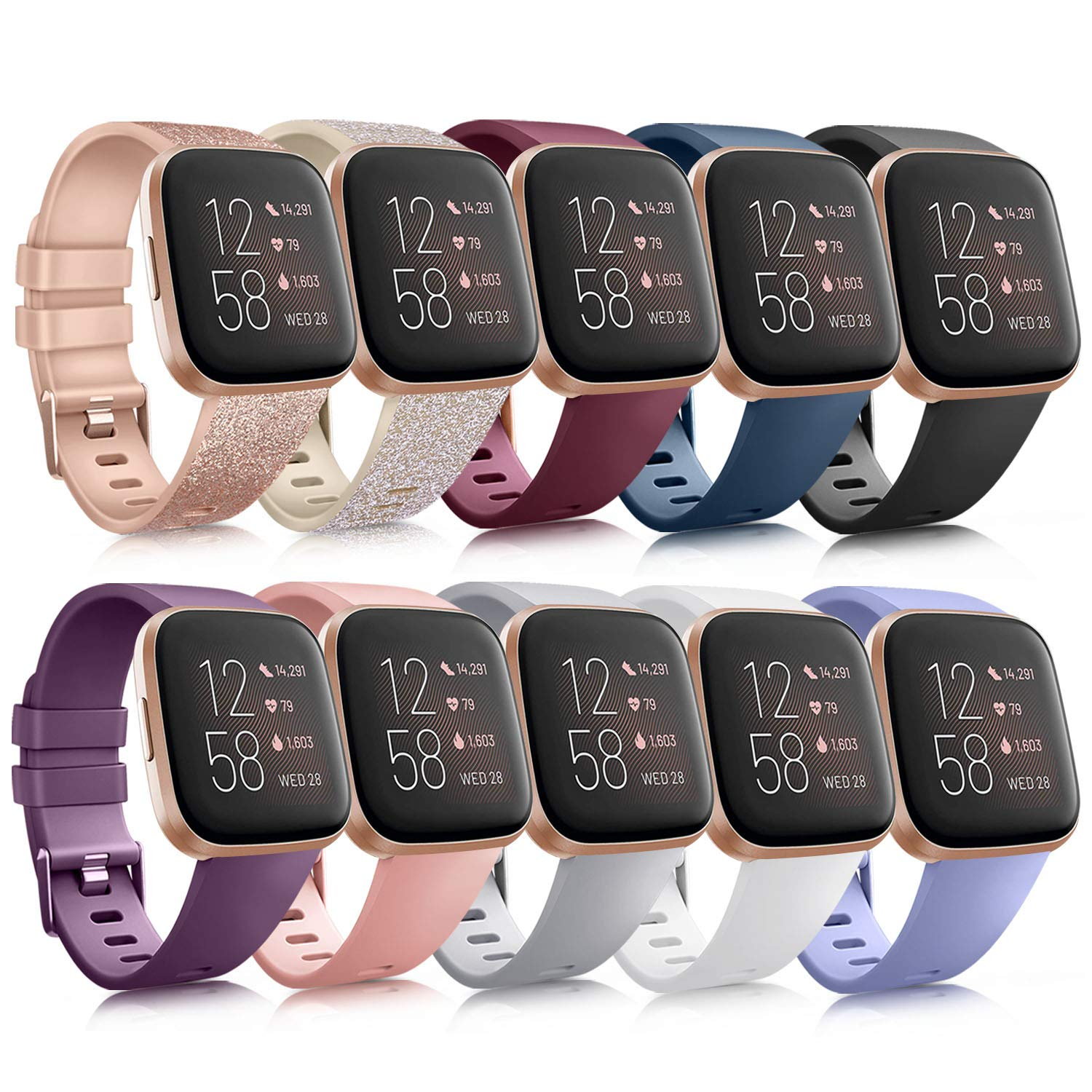 10 Pack Silicone Bands Compatible with Fitbit Versa 2 / Fitbit Versa/Versa Lite/Versa SE, Classic Soft Replacement Sport Wristbands Accessories for Women Men (Small, 10 Pack B)