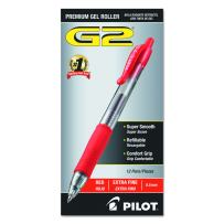 PILOT G2 Premium Refillable & Retractable Rolling Ball Gel Pens, Extra Fine Point, Red Ink, 12-Pack (31004)