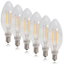 Maxxima Candelabra Clear Filament LED Candle Light Bulb 40 Watt Equivalent Warm White 2700K 350 Lumens, 4 Watt (Pack of 6)