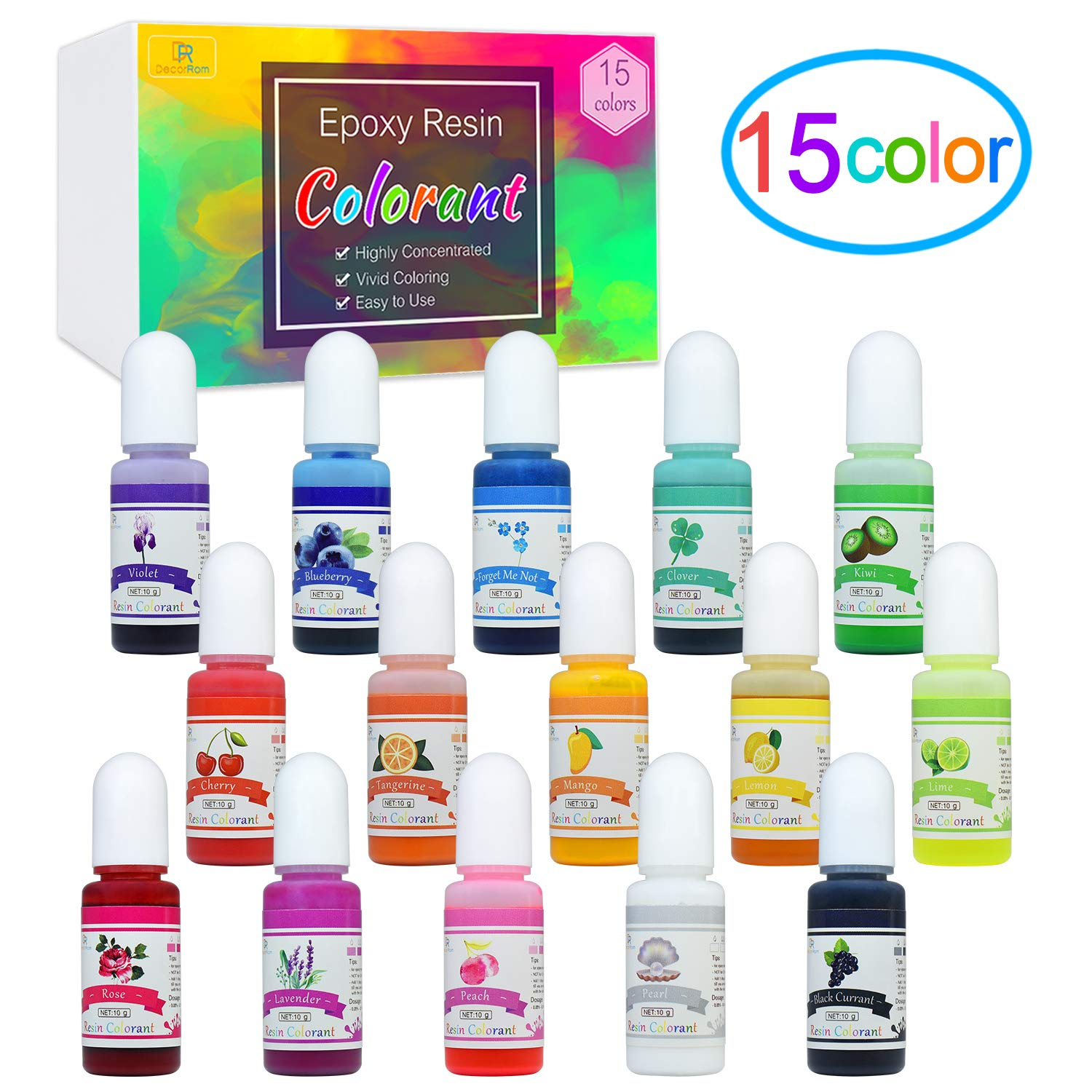 Epoxy Resin Pigment - 15 Color Liquid Epoxy Resin Dye - Highly Concentrated Epoxy Resin Colorant for Resin Color Art, DIY Jewelry Making Supplies - AB Resin Coloring for Paint, Crafts - 10ml Each