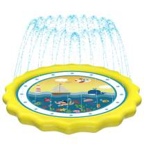 """HITOP Kids Sprinklers for Outside, Splash Pad for Toddlers & Baby Pool 3-in-1 60"""" Water Toys Gifts for 1 2 3 4 5 Year Old Boys Girls Splash Play Mat (Ocean)"""