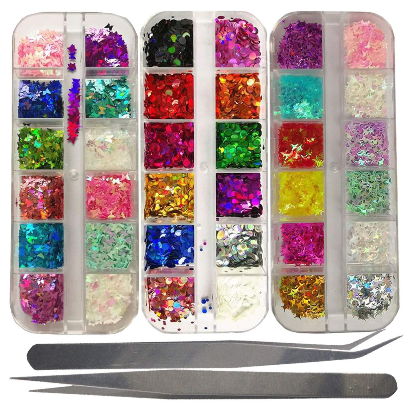 Holographic Butterfly Star Round Nail Glitter Flakes Kit Laser Gold Silver Iridescent Disc Chunky Nail Sequins, 2pc Tweezers Tools Nail Art Kit for Nail Design, Crafts, Resin DIY (Star Butterfly)