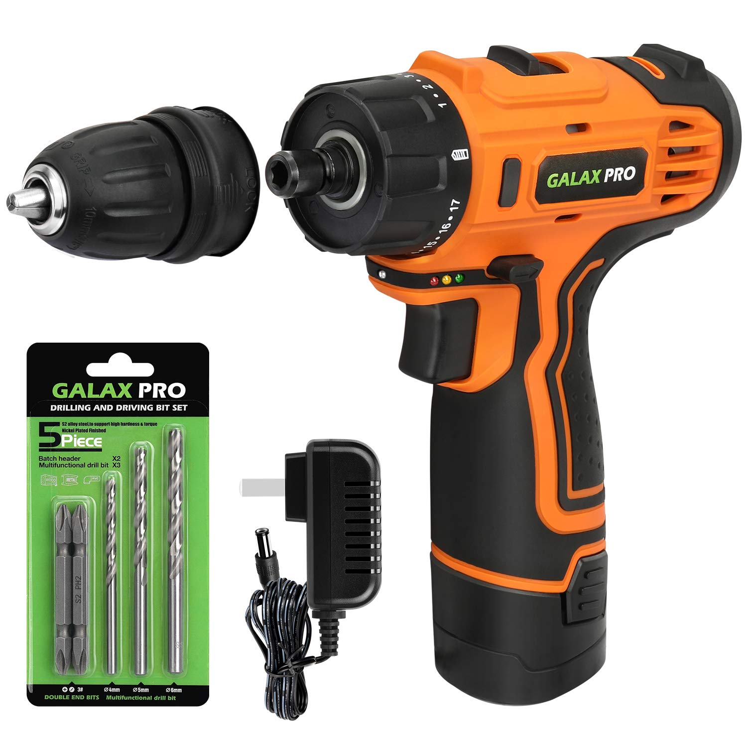 Galax Pro Dc 12v 3 8 Cordless Impact Drill Driver Tool Kit With Battery And Charger Led Work Light 17 1 Torque Setting Max Torque 25n M
