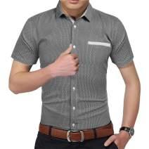 COOFANDY Men's Printed Dress Shirt Casual Short Sleeve Button Down Collar Shirt