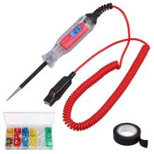 Automotive Circuit Tester 3-48V Digital Car Circuit Tester Truck Voltage Power Probe Voltage Light Tester with Electric Insulating Tape and 120pcs Car Auto Standard Blade Fuses