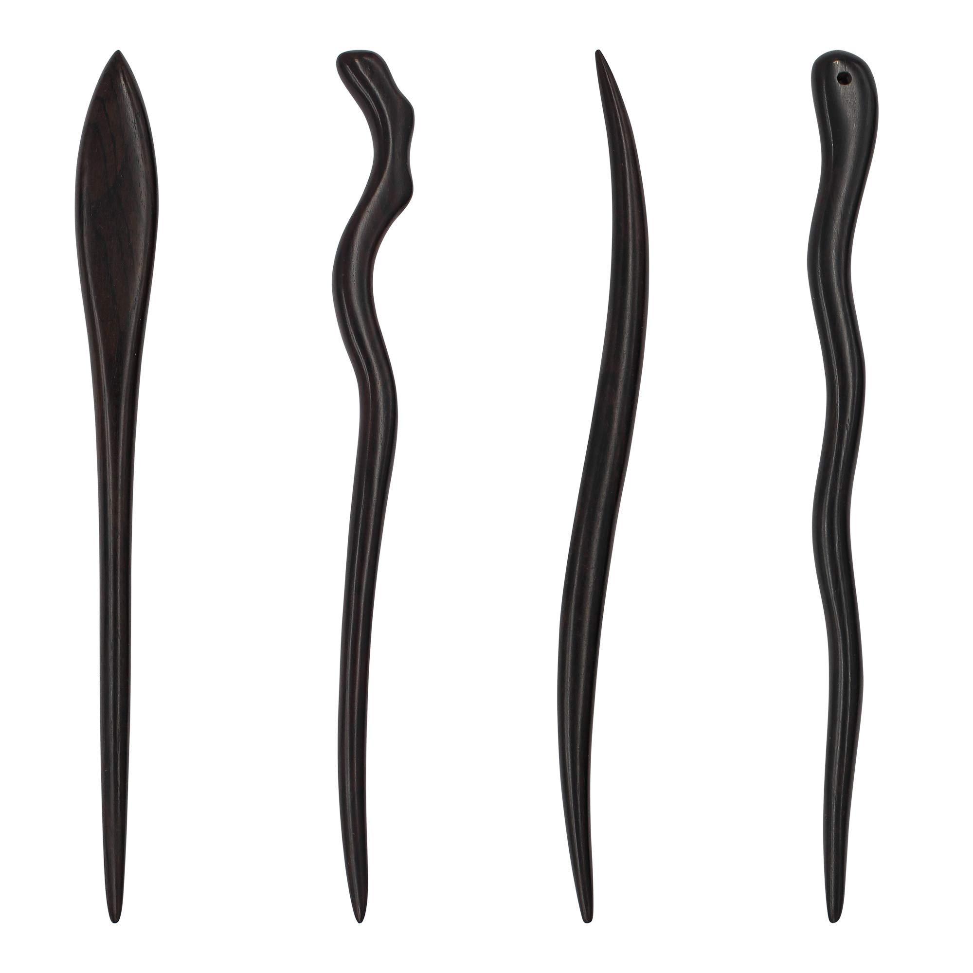 REAL SIC - Natural Sandalwood Hair Sticks for Women - Set of 4 - Sustainable Retro Boho Fashion Chopsticks/Wood Hair Pins for Long Hair (Adventure Set)